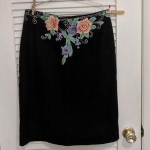 Skirts - Embroidered Flowers Black Skirt OOAK refashioned